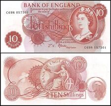 Great Britain 10 Shillings, 1966-70, P-373c, UNC, Queen Elizabeth II (QEII)
