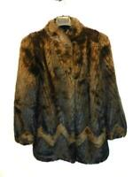 Vintage 80s S M Dark Brown Faux Fur Coat Hook Front Satin Lined Shawl Collar USA