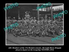 OLD LARGE HISTORICAL PHOTO OF AIF ANZACS, 4th LIGHT HORSE BRIGADE BOARDING c1916