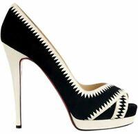CHRISTIAN LOUBOUTIN - Strappy Beige Leather Heels Peep Toe Platform Pumps 8.5 39