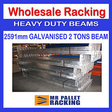 NEW PALLET RACKING - GALVANISED BEAM 2591mm - 2 TONS 4 HOOKS SAFETY CLIPS