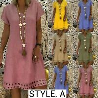 Women Boho Summer Short Sleeve Long T-Shirt Casual Cotton Loose Dress Plus Size