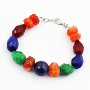 "248 Cts Earth Mined 6"" Long Ruby, Emerald & Carnelian Beads Bracelet JK 37E269"