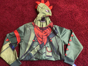 NWT Boys Fortnite Green Rex Zip Up Mesh Face Hoodie Size XL