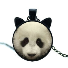 """Panda Bear With Ears 20"""" Black Chain Glass Cabochon Pendant Necklace In Gift Box"""