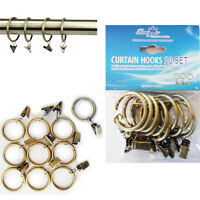 10 x Metal BRASS Curtain Pole Rings Holder with Hooks Rail Bracket Rod Rings