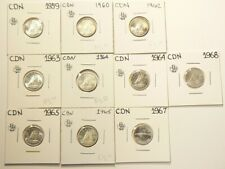 1959 to 1968 Canada 10 Cents Lot of 10 UNC Silver #6936