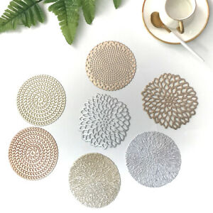 Set Of 6 PVC Place Mat And Coaster Hollow Flower Dining Table Placemats Non-Slip