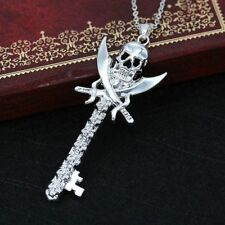 Wholesale Silver Party Plated Hip Hop Punk Skull Necklace Pendant Gifts