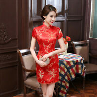 Chinese Traditional Short Cheongsam Women Silk Satin Mini Dress Ball Gown S-6XL