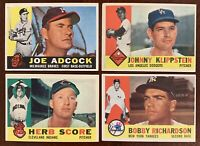 1960 Topps Baseball Lot Of 7 Different Semi-Star Players EX-EXMT Condition