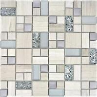 Mosaik Fliese Transluzent Edelstahl grauweiß Kombination Glasmosaik - 88-0202_b