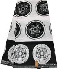 Fabulous African Ankara Print Fabric 6 Yards/Wax Prints - BLACK & WHITE