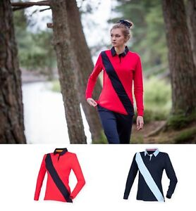 Ladies Womens Soft Touch Diagonal Stripe Long Sleeve Front Row Rugby Shirt FR113