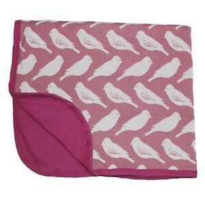 NEW Zebi Baby Stroller Pram Blanket - Plum Bird - Organic Cotton