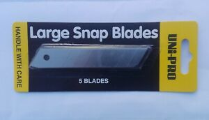 Uni Pro Large Snap Blade - 5 Pack WIDTH: 18mm LENGTH 100mm BRAND NEW
