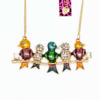 Betsey Johnson Colorful Enamel Crystal Five Birds Pendant Chain Necklace Gift