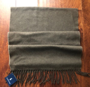 NWT POLO RALPH LAUREN BROWN 100% CASHMERE SCARF, MADE IN ITALY
