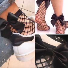 New Glitter Ribbon Bow Knot Low Cut Ankle Socks Women Girl Fashion Mesh Shimmer
