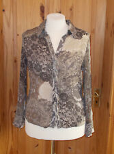PER UNA beige brown ivory taupe lace chiffon long sleeve blouse shirt top 14 42