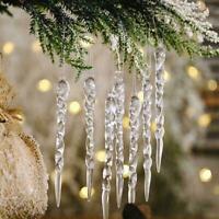 12Stk/Set Glas Eiszapfen Ornamente-Winterdekorationen für Weihnachtsbaum Z0N1