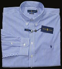 New 4XLT 4XL TALL 4XT POLO RALPH LAUREN Men button down dress shirt blue stripes