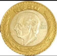 México 20 nuevos pesos Miguel Hidalgo bimetalic 1992-1994 Sterling silver