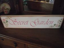 SECRET GARDEN  HP Shabby Roses  Cottage Chic Primitive Wood Sign