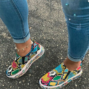 Ladies Slip On Flat Loafers Pumps Casual Women Snakeskin Trainers Sneakers Shoes