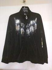 04ac93fa06 Ac-tiv-ology Womens Black Velvet MOC Turtle Neck Zip up Cardigan Sweater  Bling