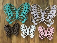Vintage Burwood 5 Plastic Butterfly Wall Hanging Decor Various Colors & Sizes