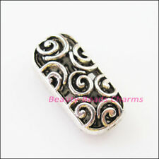5Pcs Tibetan Silver Oval Flower Clouds Spacer Beads Charms 11x22.5mm