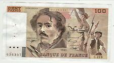 100 FRANCS DELACROIX 1993  série C 219 5 épinglages