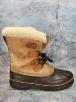 Sorel Womens Alpine Winter Duck Boots Brown Tan Mid Calf Fur Lined Size 11