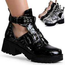 Ladies Patent Ankle Boots Cut Out Platform Boots Strap Animal Look Derby