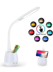 Desk Lamp with USB Charging Port Eye-Caring Table Lamps Led Study Lamp Dimmable