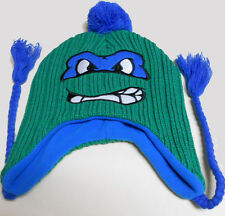 NEW NICKELODEON Teenage Mutant Ninja Turtles LEONARDO HEAVY KNIT laplander w/POM