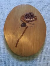 Folk Art Marquetry Inlay Wood Plaque Rose Cedar Mulberry Maple Signed 1987