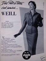 PUBLICITÉ 1954 WEILL PRÊT A PORTER THAÏS CHEZ VALBERE  - ADVERTISING