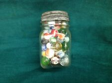 Vintage/ Antique/ Old Marbles.  Swirl And Shooters. In A Beautiful Old Mason Jar