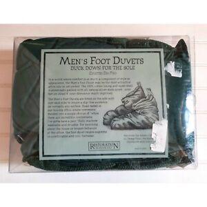 Restoration Hardware Foot Duvets Duck Down Slippers Mens Size 9-13 Dark Green