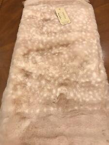 Nicole Miller BLUSH PINK/WHITE Snow Leopard Faux Fur Ultra-Soft Throw Blanket