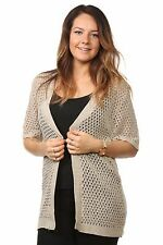 New Ladies Women's Mesh Knitted Short Sleeves Cardigans Tops Jumpers Plus Sizes