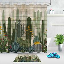 Watercolor Painting Cactus Floral Wood Plank Shower Curtain Set Bathroom Decor