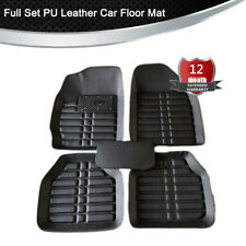 Black All Weather Floor Mat 5pcs PU Leather Universal Waterproof Car Truck