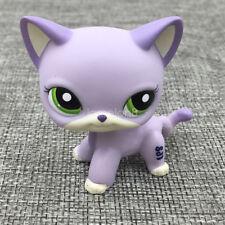 LPS#2094 Green Eyes Standing Cat Littlest Pet Shop Purple White Short Hair Kitty