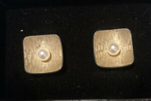 Vintage Krementz Signed Gold Overlay and Pearl Cufflinks