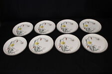 "8pc Vintage Arklow Honeystone KENMORE Floral #8178 10.5"" Dinner Plates, Ireland"