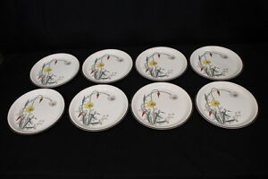 "8pc Vintage Arklow Honeystone KENMORE Floral #8178 10.5"" Dinner Plates, Ireland"