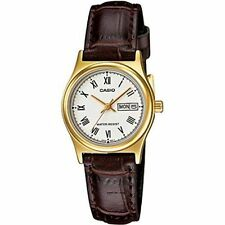 Casio Women's Brown Leather Strap Watch, White Dial, LTP-V006GL-7B